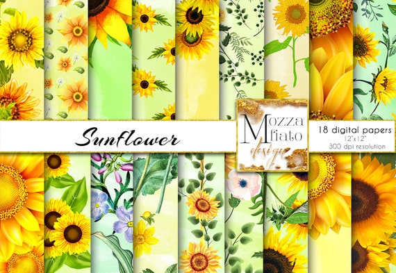 photo relating to Printable Watercolor Paper called Sunflower Electronic paper pack. Summertime floral paper. Watercolor paper yellow  eco-friendly. Sunflower social gathering printable paper Quick Down load #181