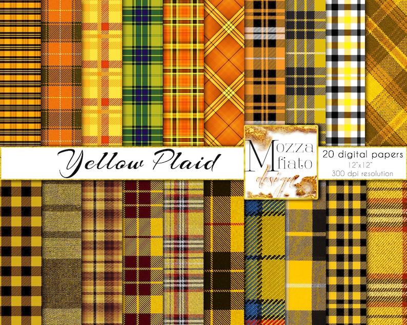 08f732e51cc19 Fall Plaid digital paper pack. Yellow & Orange plaid fabric printable  tartan plaid for scrapbook art. Autumn Papers Instant Download