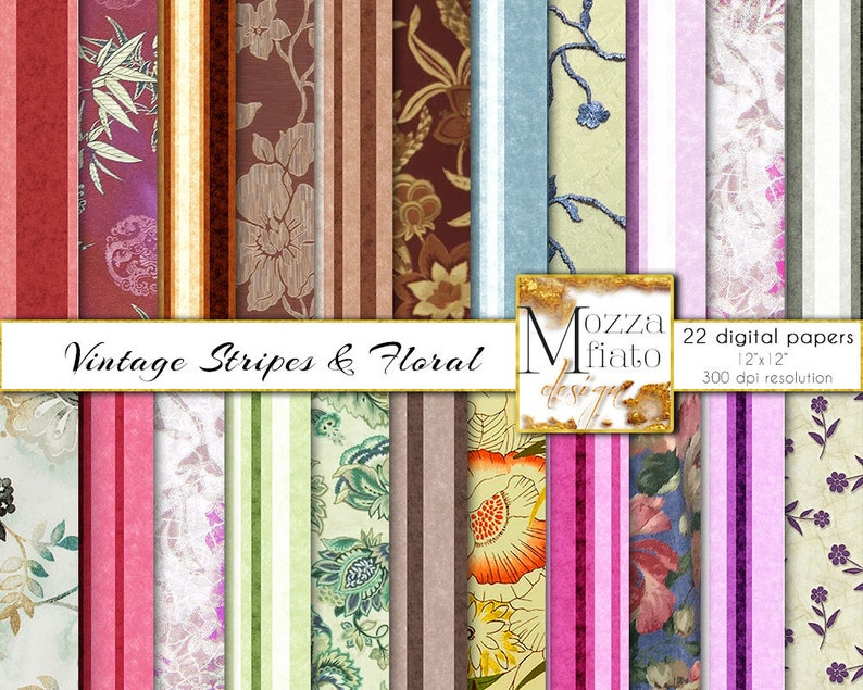 image relating to Printable Fabric Paper titled Electronic Traditional Floral Cloth Paper Pack, Basic Stripe Flower printable sbooking paper, Outdated Wallpaper Historical past Cloth Collage #016