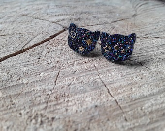 Ear chips Cat head star- Resin and glitter