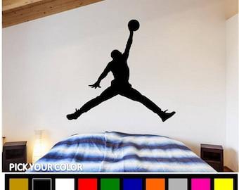 detailed look 9555f c0261 Jordan Wall Decal  Michael Jordan Decal  Air Jordan Decal  Jordan Wall  Sticker  Basketball Decal  Sport Decor  Basketball Decor