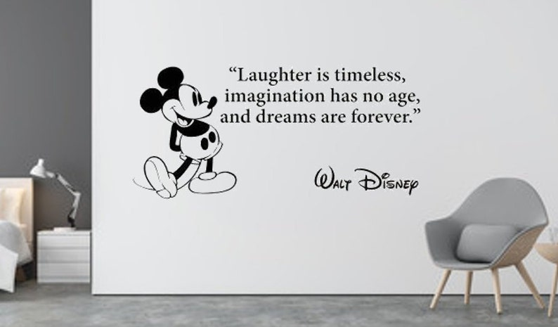 disney wall decal / walt disney quote decal / mickey mouse | etsy