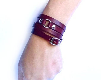 vintage leather cuff red silver and red with silver clasp
