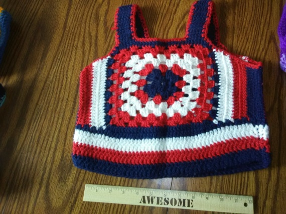 VINTAGE Red White and Blue Granny Square Vest