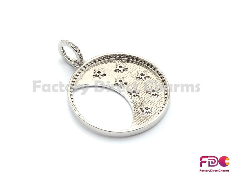 GoldSilverBlackRose Gold Star CZ Pendant Cubic Zirconia Jewelry Findings,30x34mm,sku#fdc-F700 1pc5pcs,CZ Micro Pave Round With Moon