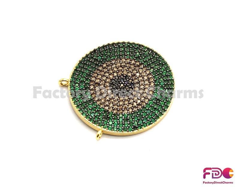 GreenTurquoiseCobaltFuchsiaViolet CZ Pave Charm sku#fdc-F718 25mm 1pc5pcs,Colorful CZ Micro Pave Evil Eye Round Pendant