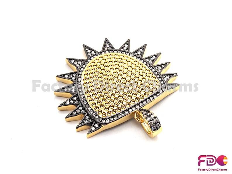 33x36mm GoldRose GoldSilverGunmetal plated 15pcs,CZ ClearBlack Micro Pave Shield With Sawtooth Pendant CZ Pave Pendant Sku#fdc-F771