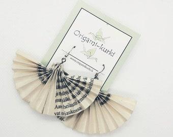 ORIGAMI fan earrings. Geisha fan earrings. Upcycled book earrings. Literature earrings. Choose your color.