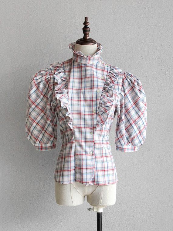70s plaid prairie blouse / s