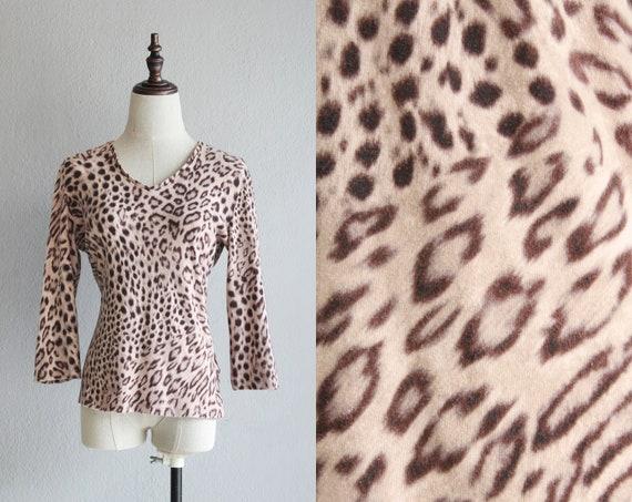 Y2K leopard print blouse / l