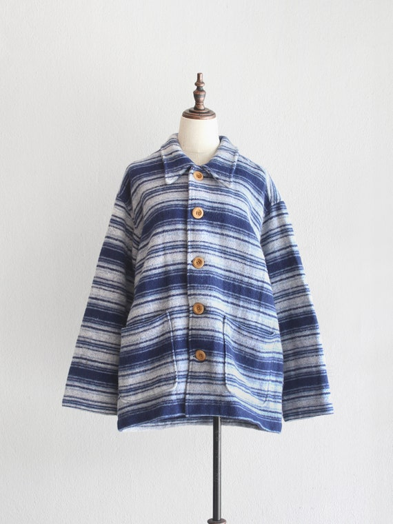 oversized blue striped wool coat / m l