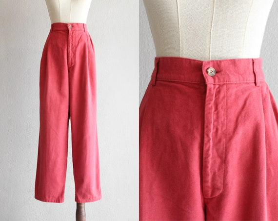 raspberry cotton pleated pants / 29""