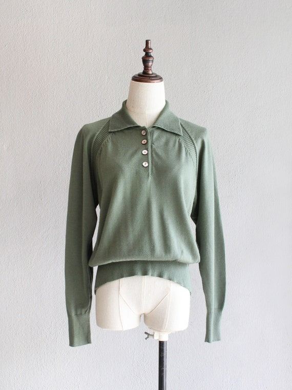 jade wool knit polo / m