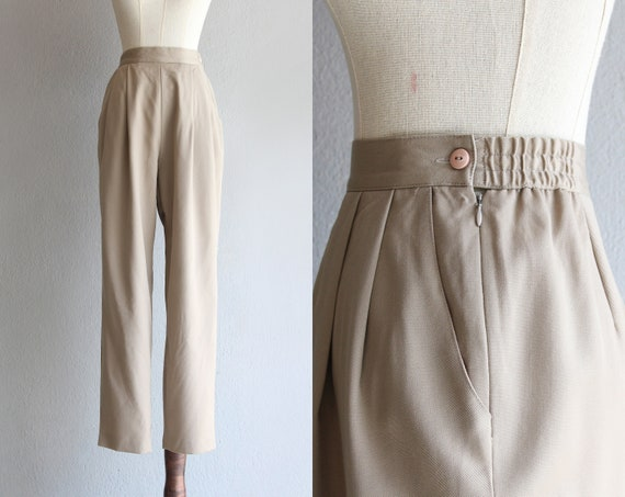 "warm taupe wool pants / 27"" 28"" 29"""