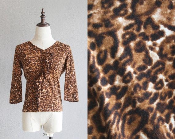 Y2K leopard print ruffle blouse / s