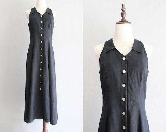 noir linen market dress / s m