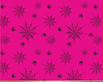 Cotton Fabric  Spiders fabric  Punk fabric Spider Web 2 Fabric Print in Pink Printed in the USA by Think Turner.