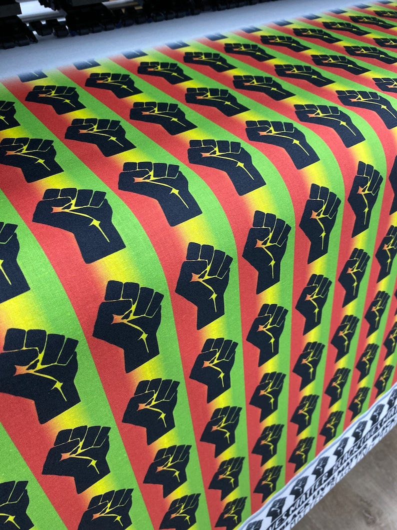 BLM Fist Fabric Print in Rasta colors Printed in the USA by Think Turner *NEW!* Textile Print  Cotton Fabric  Rebel  Black Lives Matter