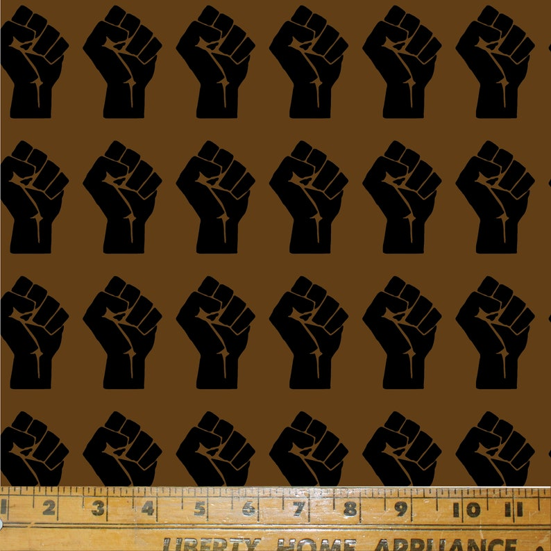 *NEW!* Printed in the USA by Think Turner BLM Fist Fabric Print in Brown Textile Print  Cotton Fabric  Rebel  Black Lives Matter
