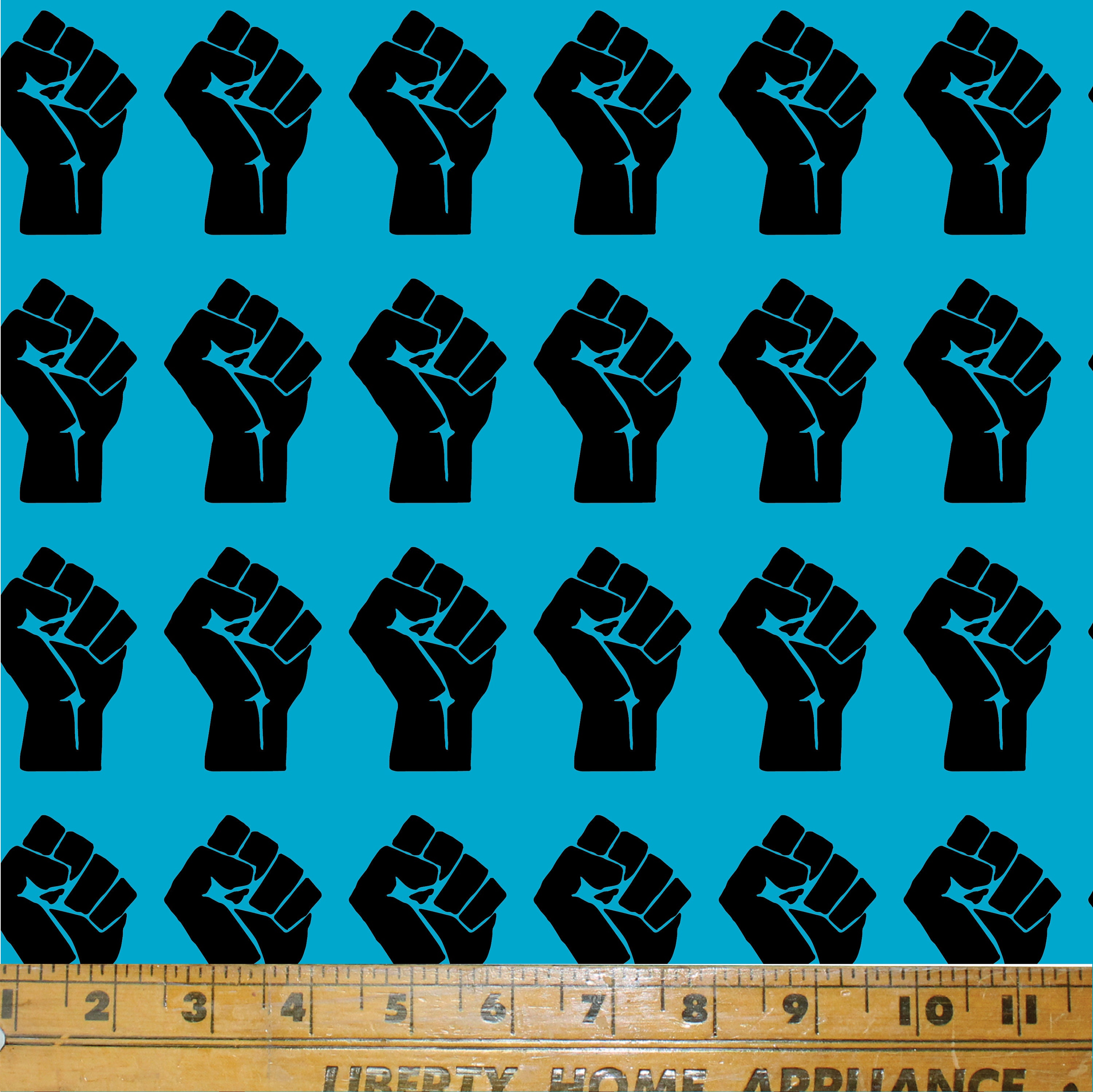 Printed in the USA by Think Turner *NEW!* Textile Print  Cotton Fabric  Rebel  Black Lives Matter BLM Fist Fabric Print in White