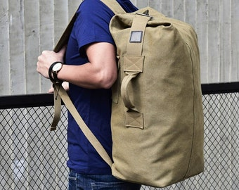 f539bd077ab0 Canvas Bucket Backpack or Duffel - with Clip Closure - Small and Large -  Military Duffle Bag