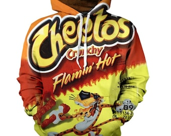 14e3a808ae8 Flaming Hot CHEETOS Hoodie Shirt - Junk Food Hoody - All Over Print Hooded  Sweatshirt