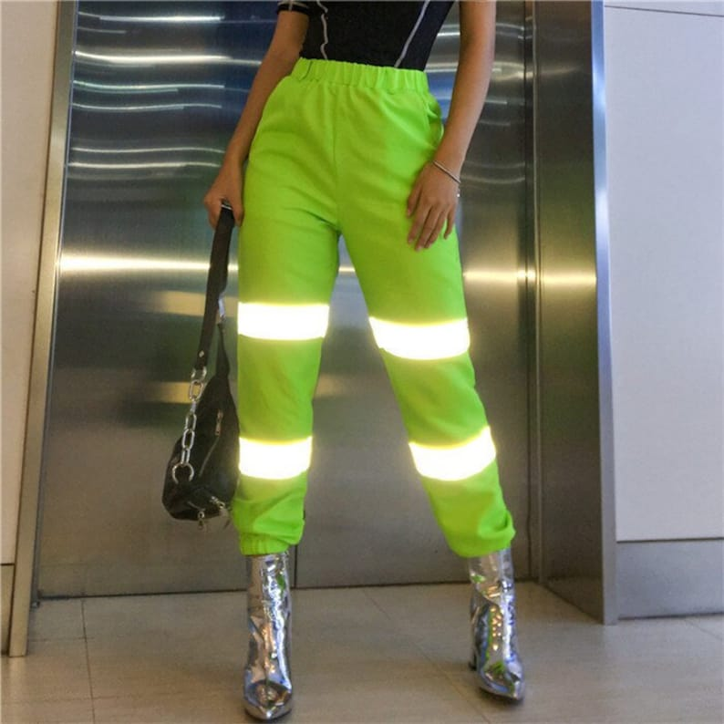 luxury aesthetic modern and elegant in fashion skate shoes NEON Reflective Jogger Pants - 3M Reflector Streetwear Track Pant