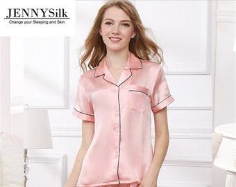 Short Silk pyjamas for women silk sleeping wear 100% mulberry Silk silk  pajamas set 6a7146eb9