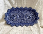 Vintage PLATTER or TRAY Made in PORTUGAL by Bordallo Pinneiro Rabbits and Cabbages