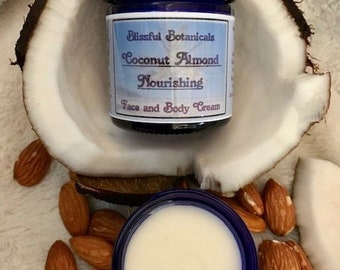 COCONUT ALMOND CREAM   Nourishing Face Cream. 100% Natural, Handcrafted Botanical Skin Care