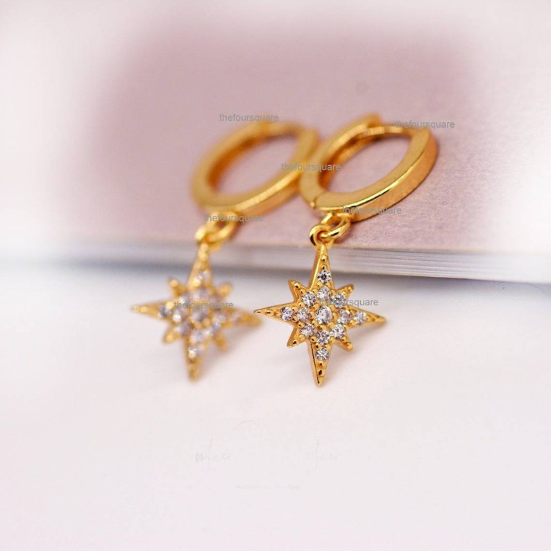 Diamond Starburst Hoops,Solid 14k Gold,Diamonds Star Charms on Hoops,Dangle Earrings,Women Gift Jewelry for Her,Valentine/'s Day,Mother Day