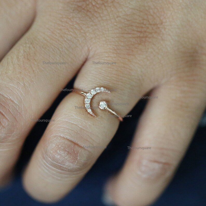 Cluster Ring Rose Gold Ring Fine Jewelry For Women 14k Gold Open Half Moon Dainty Ring Diamond Studded Crescent Moon Cuff Ring