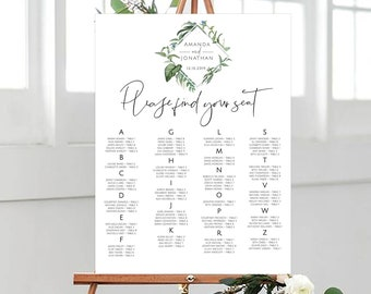 greenery wedding seating chart template printable gold etsy