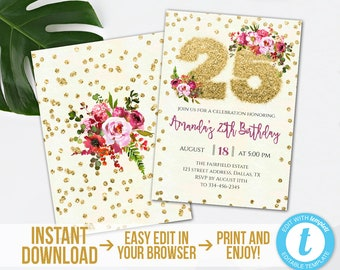 25th Birthday Invitation, Editable Gold Glitter 25th Birthday Invitation, Printable Gold Floral 25th Party Invite, Instant Download,Templett