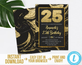 25th Birthday Invitation, Editable Mable 25th Birthday Invitation, Printable Gold Black Marble 25th Party Invite, Instant Download, Templett