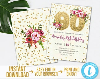 90th birthday invitations etsy 90th birthday invitation editable gold glitter 90th birthday invitation printable gold floral 90th party invite instant downloadtemplett filmwisefo