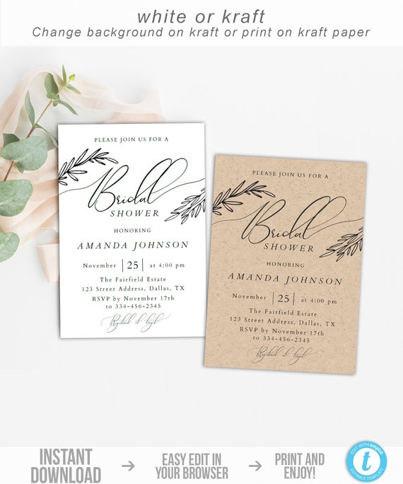 Bridal Shower Invitation Instant Download Rustic Bridal Shower Invite Template Editable Bridal Shower Invite Kraft Simple Black White