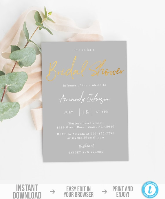 Bridal Shower Invitation Template Gold Gray Bridal Shower Invite Instant Download Editable Minimalist Bridal Shower Invitation Simple