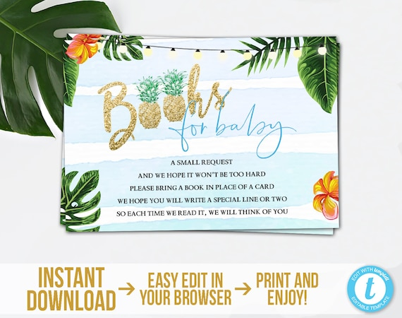 Baby Shower Book Request Tropical Shower Hawaiian Theme Instant Download Tropical Leaves Printable Tropical Books For Baby Card