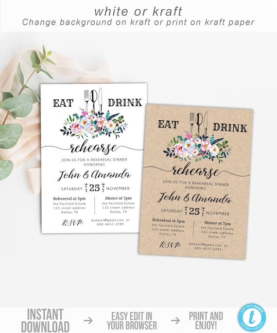 Floral Rehearsal Dinner Invitation Template Rustic Eat Drink | Etsy
