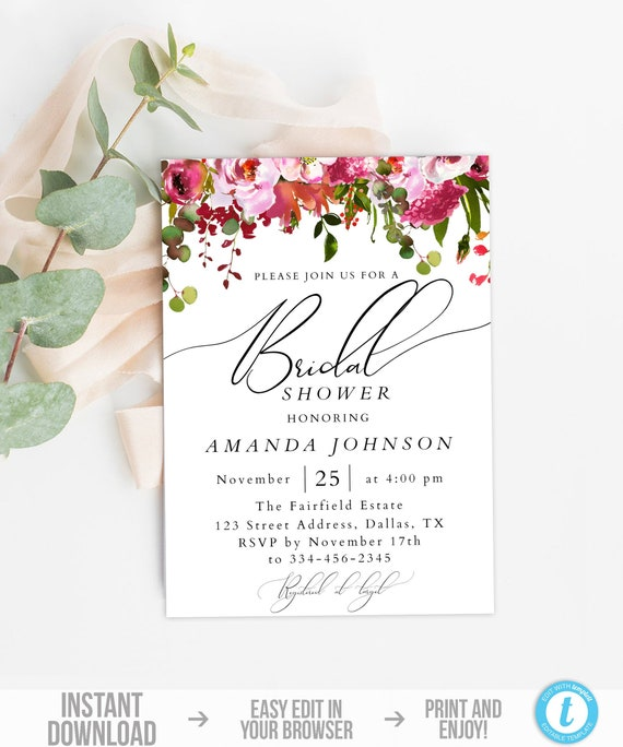 Bridal Shower Invitation Template Blush Floral Bridal Shower Invite Instant Download Editable Bridal Shower Invite Pink Flower Bridal
