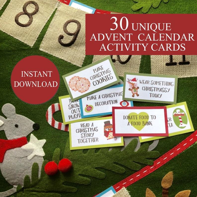 Printable Advent Calendar Christmas Activity Cards Instant Etsy