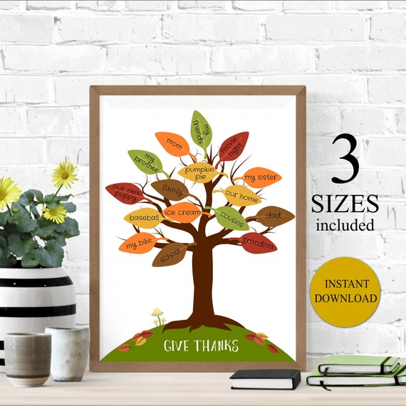 photo regarding Thankful Tree Printable called Do-it-yourself Grateful Tree Signal, Thanksgiving Grateful Tree Craft, Prompt Obtain Printable, Graude Tree Leaf Print Out, I am Grateful For