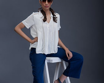 6759bb522dd Short Sleeve Pintuck White Shirt