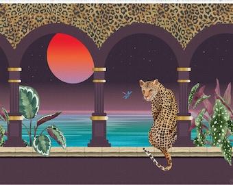 Tropical Leopard Print, Big Cat Art, Wall Decor, Leopard Art, Tropical Print, Leopard Print, Jungle Leopard, Living Room, Leopard Home Decor