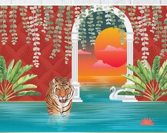 Colorful Tiger Print, Wall Decor, Tiger Art , Home decor, Tiger Wall Art, Boho Tropical, Tiger print, Jungle Decor, Animal, Tropical Tiger