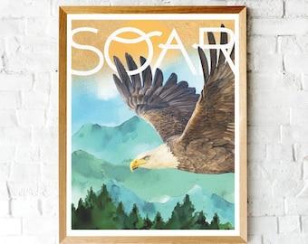 Eagle Poster Print, American Eagle Art, Wall Decor, Eagle Art, American Eagle Poster, Soaring Eagle Print, Bird Poster, Eagle Mountain Print
