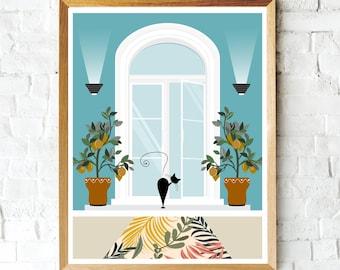 Colorful Black Cat Art Print, Boho Print, Black Cat, Patio, Wall Decor, Gifts for Cat Lovers, Cute Cat Print, Cat Mom, Black Cat Art