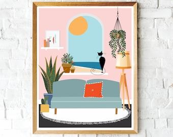Colorful Black Cat Art Prints, Boho Print, Black Cat, Beach Scene, Cat Mom, Landscape, Wall Decor, Cat Lover Print, Cute Cat Prints