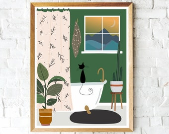 Colorful Black Cat Art Print, Boho Print, Black Cat, Bathroom Art, Wall Decor, Gifts for Cat Lovers, Cute Cat Print, Cat Mom, Black Cat Art
